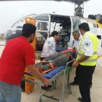 اعزام بالگرد اورژانس ۱۱۵ شیراز به شهر نوجین فراشبند، برای انتقال مصدوم حادثه رانندگی در دومین روز از نوروز